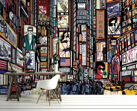 New York City cartoon wall mural